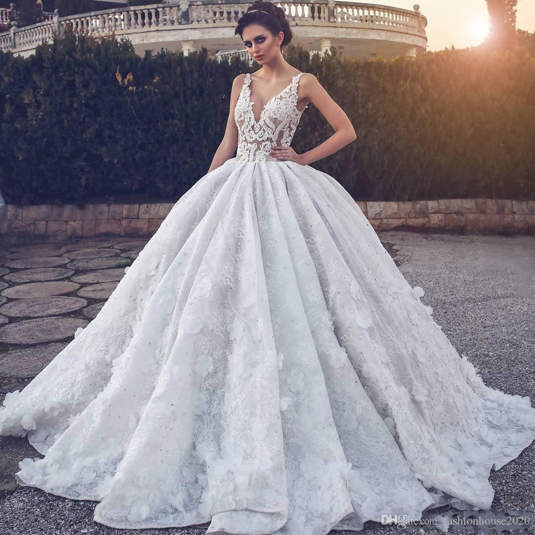 5f9986acf1e Discount 2019 Sexy A Line Wedding Dresses V Neck Illusion Full Lace Flowers  Crystal Beaded Ball Gown Court Train Plus Size Formal Bridal Gowns Vintage  ...