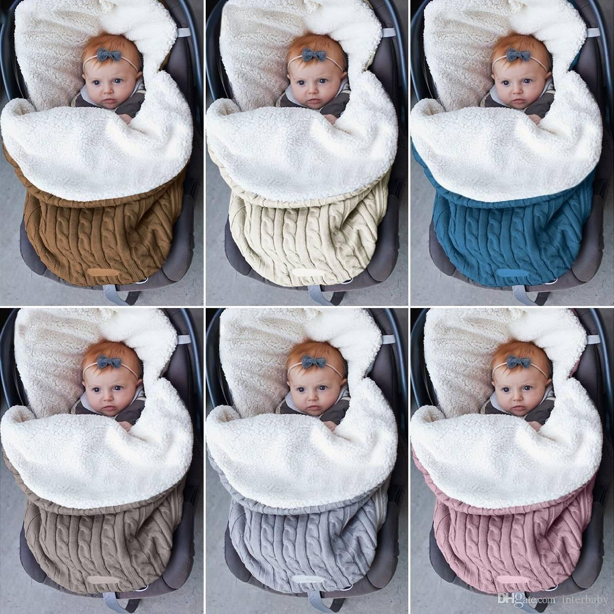 Baby Sleeping Bag Soft Newborn Stroller Cart Swaddle Cotton Warm Sleep Sack INS Winter Baby Blanket Infant Swaddling LDH277