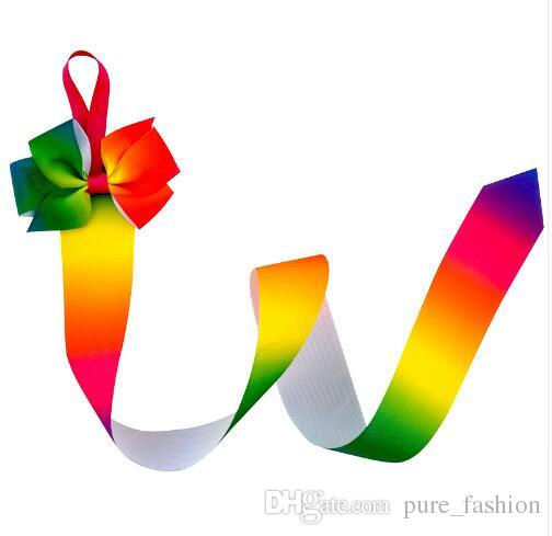 Fashion High Quality Hairbow With Long Tail Rainbow Ribbon Hair Bows holder For Teens Girls Accessories Children Printed Bows Holders /