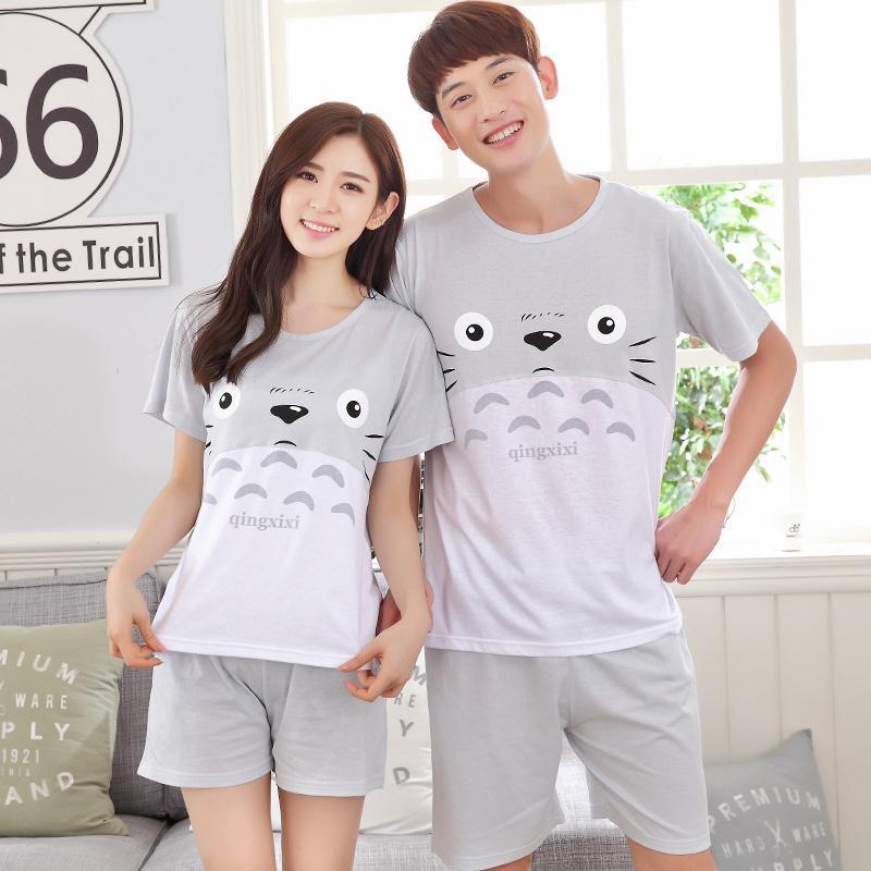2019 Summer Coon Pajama Sets Couples Gray Sleepwear Women Pajamas Pijama  Hombre Masculino Cartoon Totoro Pyjamas Men s Pajamas Home From Blairi adce2904c