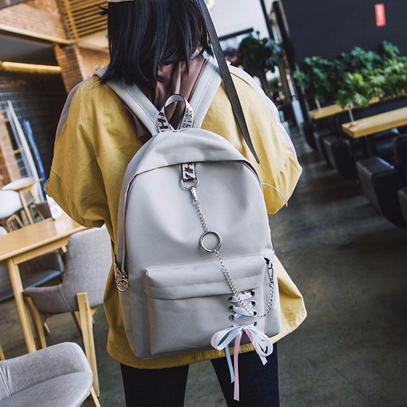 2c3ab6f1e4 2018 Japan Harajuku Fashion Women Canvas Backpack Ribbons Hanging Chain Ring  Teenage Girls Backpack Female Daily Mochila Bagpack Backpacks For Men  Jansport ...