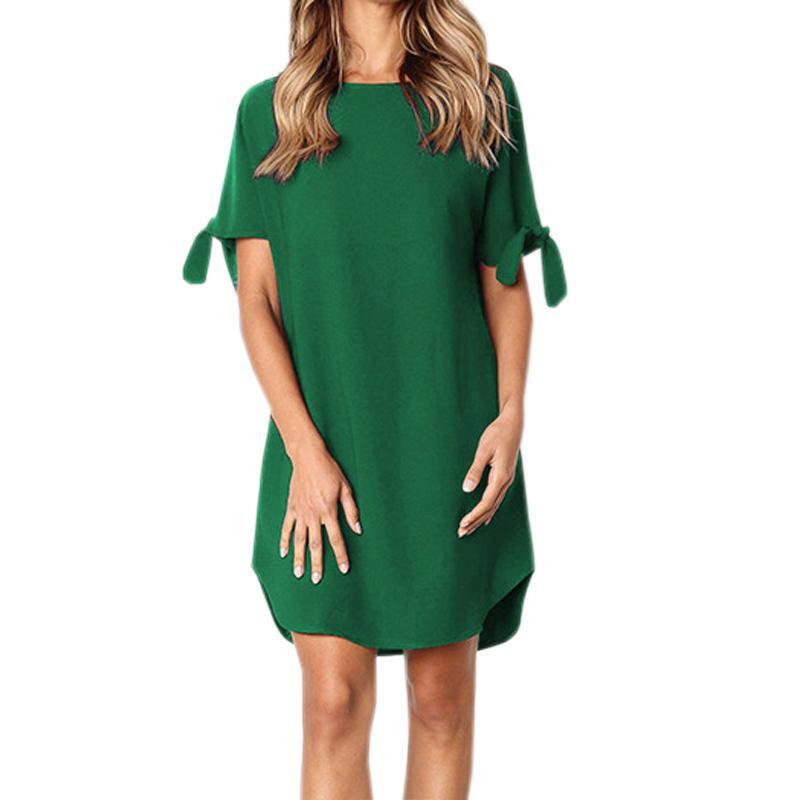 6cf4a0375608 Split Irregular Dresses Summer Autumn Lace Up Short Sleeve Loose Casual Dress  Women Solid Wine Red Mini Dress Plus Size GV811 White Dress Woman Long Dress  ...