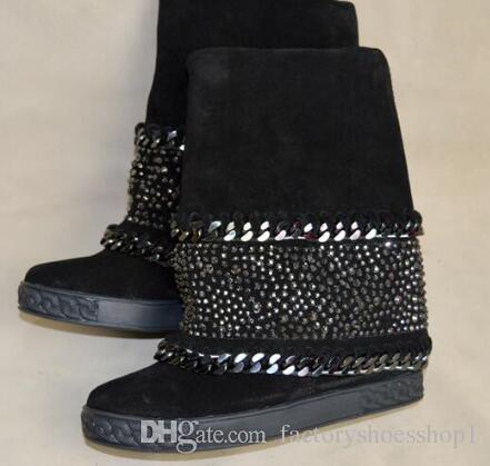 2018 Winter Women snow Boots Black Suede Wedges Heel Round Toe Booties Studded Metal Floral Slip On Leather booties Shoes Woman