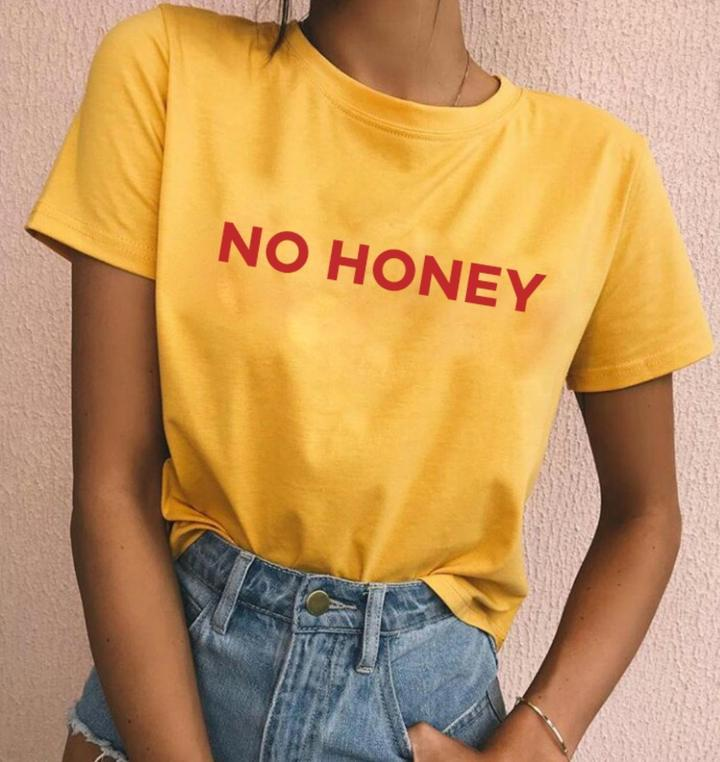 Yellow T Shirt Design | Unisex Casual Aesthetic Tee No Honey T Shirt Tumblr Red Leer