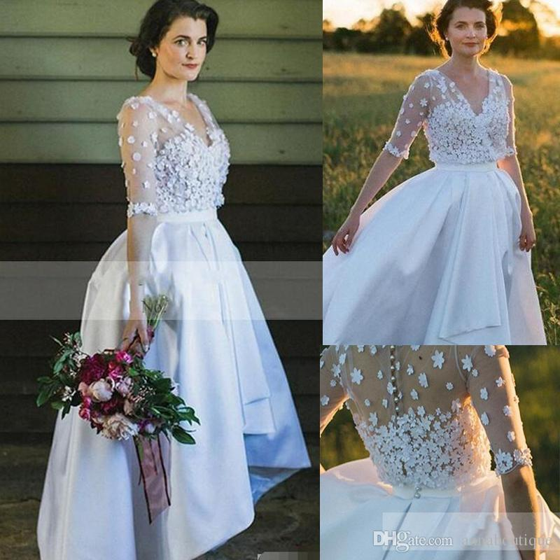 Discount 2018 Short High Low Short Country Vintage Wedding Dresses A ...