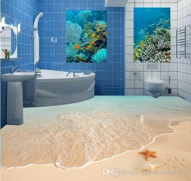 3d Floor Painting Custom Wallpaper For Walls 3 D Beach Surf Starfish