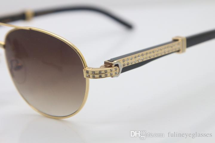 Smaller Big Stones Glasses Hot New Style 569 Unisex Black Mix White Buffalo Horn Glasses mens sunglasses Metal C Decoration gold frame glass