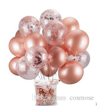 Transparent Latex Balloon With Rose Gold Confetti For Birthday Party Wedding Decoration 12 Inch 18 First Themes Flower