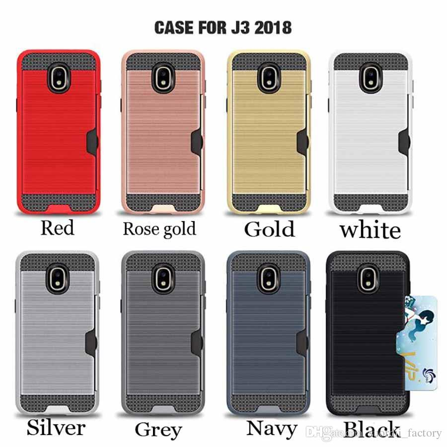 hot sale online 735ed 93774 For Samsung Galaxy J3 J4 J6 J7 2018 PC TPU Hybrid Heavy Duty Tough Armor  Shockproof Cell phone Case Cover With Card Slots Magnetic cases