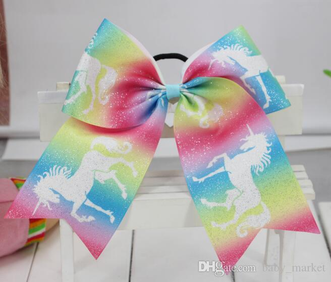 "9 style 7"" Large Unicorn Hair Bows Elastic Rubber Bands Cheer Bows Hair Ties Grosgrain Ribbon Cheerleading Bow Hair Accessories /"