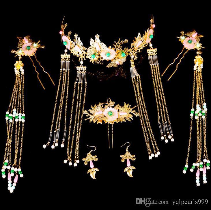 2018 Chinese bride bride jewelry costume headdress hairpin tassel Coronet