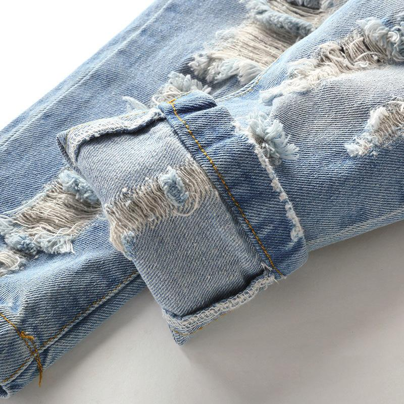 HOT Spring Autumn Baby Denim Pants Cotton Ripped Hole Boys girls Jeans Children Clothes Casual Light Blue Fashion Kids Trousers