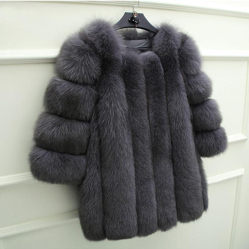 Acquista UPPIN Inverno Moda Elegante Cappotto Di Pelliccia Donna Ultime  Grigio Scuro Pelliccia Di Volpe Sintetica Giacca O Collo Fitted Warm  Giacche Di ... 80c3d6f3dd5