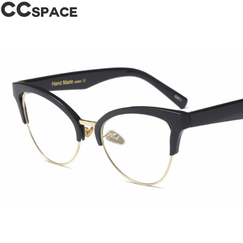 f9ec297d84 Half Frame Cat Eye Hollow Glasses Frames Women Trending Optical ...