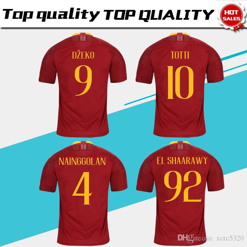 2019 2019 TOTTI Roma Home Red Soccer Jersey 18 19 DE ROSSI A.S.Roma Soccer  Shirt Customized DZEKO EL SHAARAWY Short Sleeve Football Uniform Sales From  ... a9cba4204
