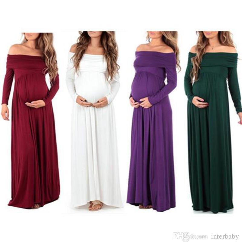 7357af8b9 Compre Vestidos Largos De Maternidad Embarazo Elegante Fuera De La Ropa De  Solapa Del Hombro Vestidos De Noche De Maternidad Color Sólido Ropa De  Fiesta ...