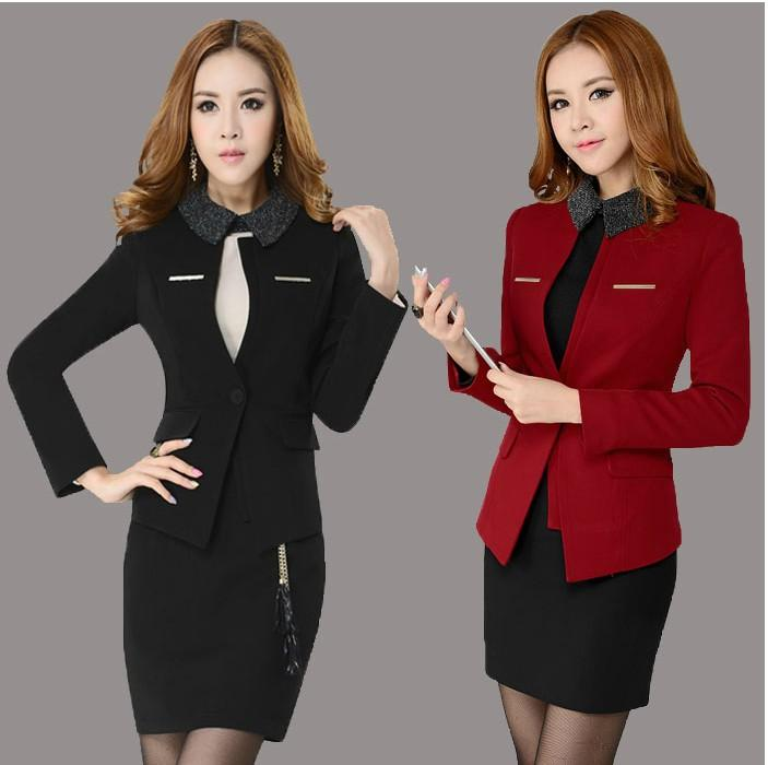 87a2e005da5 New Plus Size 4XL Spring Autumn Fashion Women s Career Suits With Skirt  Formal Sets for Women Work Wear Suits Plus Size XXXXL