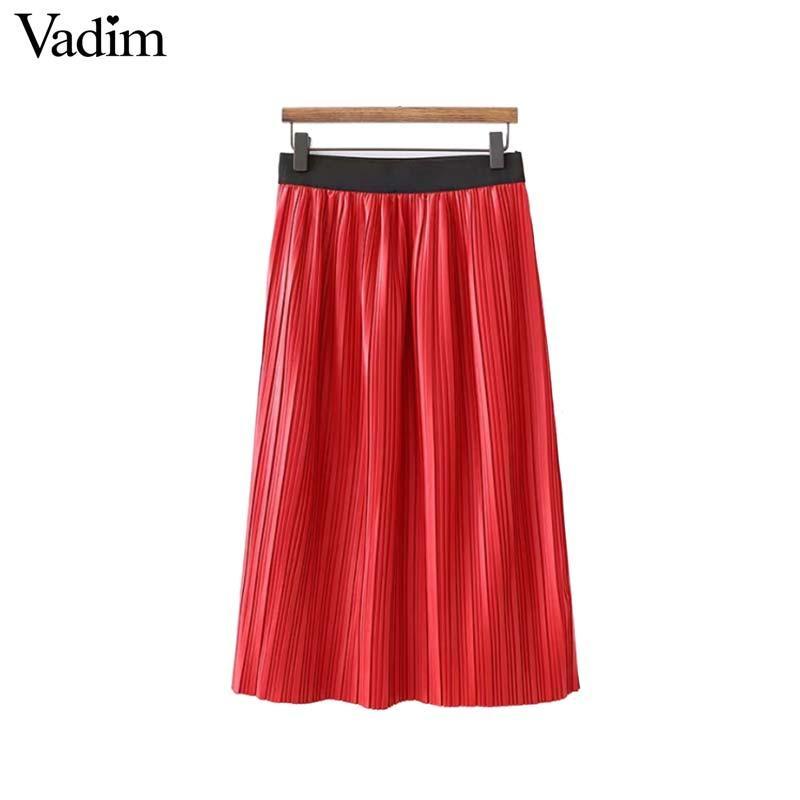 Compre Vadim Mujer PU Cuero Faldas Plisadas Rojas Faldas Mujer Cintura  Elástica Sólido Femenino Elegante Casual Elegante Midi Falda BA247 A  25.04  Del ... 9a036b2483cf