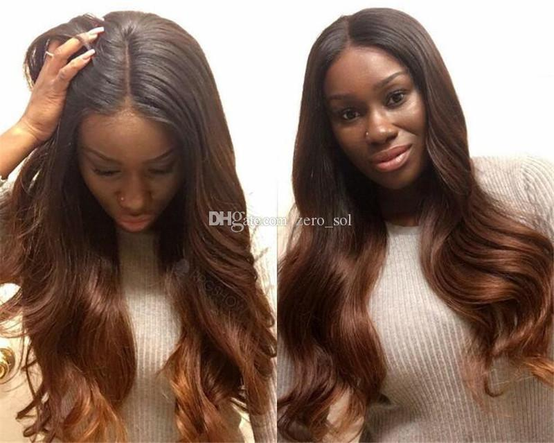 Glueless Lace Front Wig Ombre Color Remy Hair Brazilian Body Wave