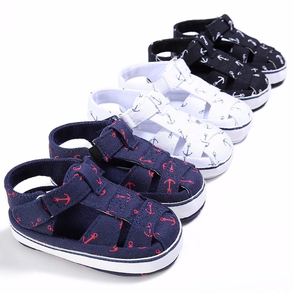 5ae194315dd66 Acheter 2018 Été Bébé Casual Chaussures Garçons Filles Anchor Respirant Sandales  Bébé Toe Cap Couvrant Garçons Toile Sneakers De  3.65 Du Xiaobo198638 ...