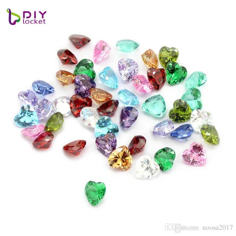 12 months crystal heart beads Small 5mm zircon Twinkling Birthstone Floating Charm for DIY Glass Floating Locket Accessories