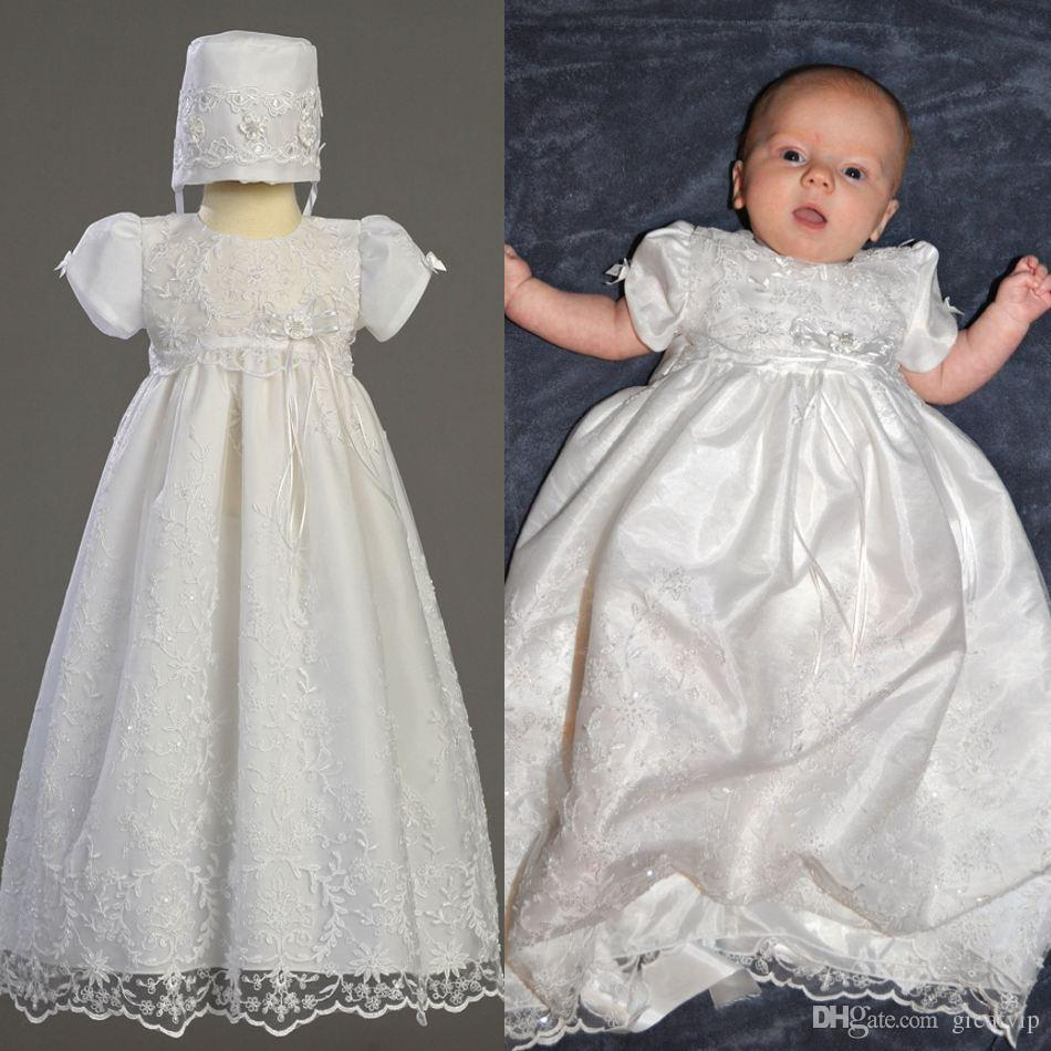 7a32901f61c3e Lovely White First Communion Dresses Lace Beads Ruffles Short Sleeve Baby  Christening Gowns With Bonnet Baptism Outfits Robes De Fête Dress Sites  Dresses ...