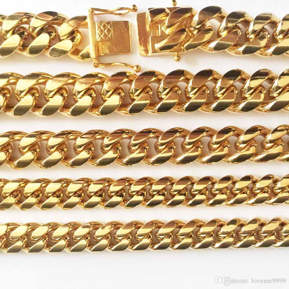 HIP HOP 8mm / 10mm / 12mm / 14mm de Acero Inoxidable Curb Collar de Cadena Cubana Boys Mens Fashion Chain Dragon Broche Enlace joyería hiphop