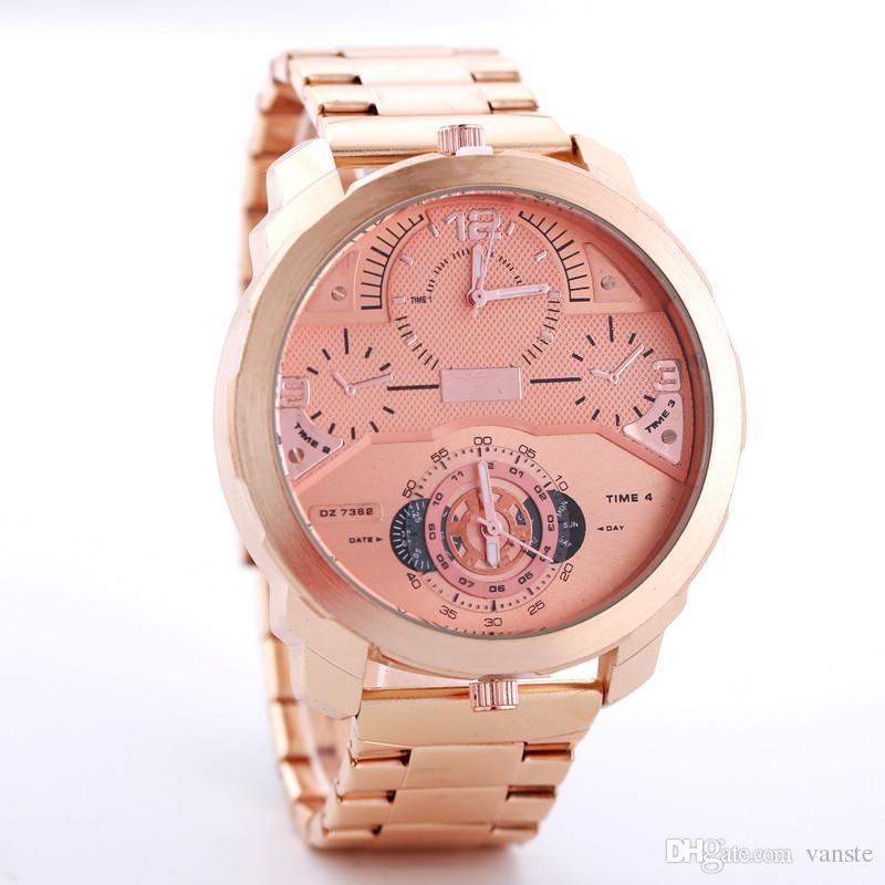 24d16a85cb72 Compre AAA + Calidad Hombres Lujo Oro Rosa Acero Inoxidable DZ Reloj Gran  Dial Dos Movimientos Relojes De Cuarzo Lamborghini F1 Relojes Maestro Reloj  De ...