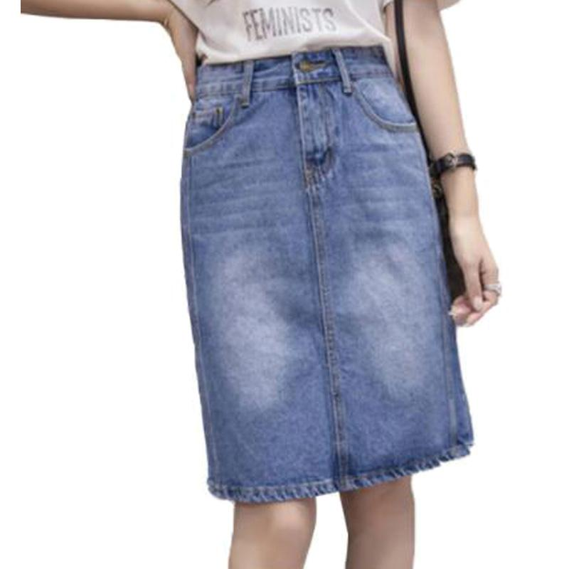 115186100b 2019 4XL 5XL 2018 Casual Knee Length Denim Skirts Women High Waist Tassel  Wide Leg Light Washed Loose Jeans Female Plus Size ZY4251 From Sugarlive,  ...