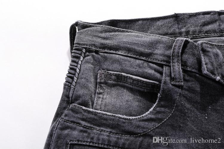 New Arrive Skinny Water wash Motorcycle mens jeans Desinger BM506-BM507 in single cow thickened Slim paris top quality plugs men's jeans