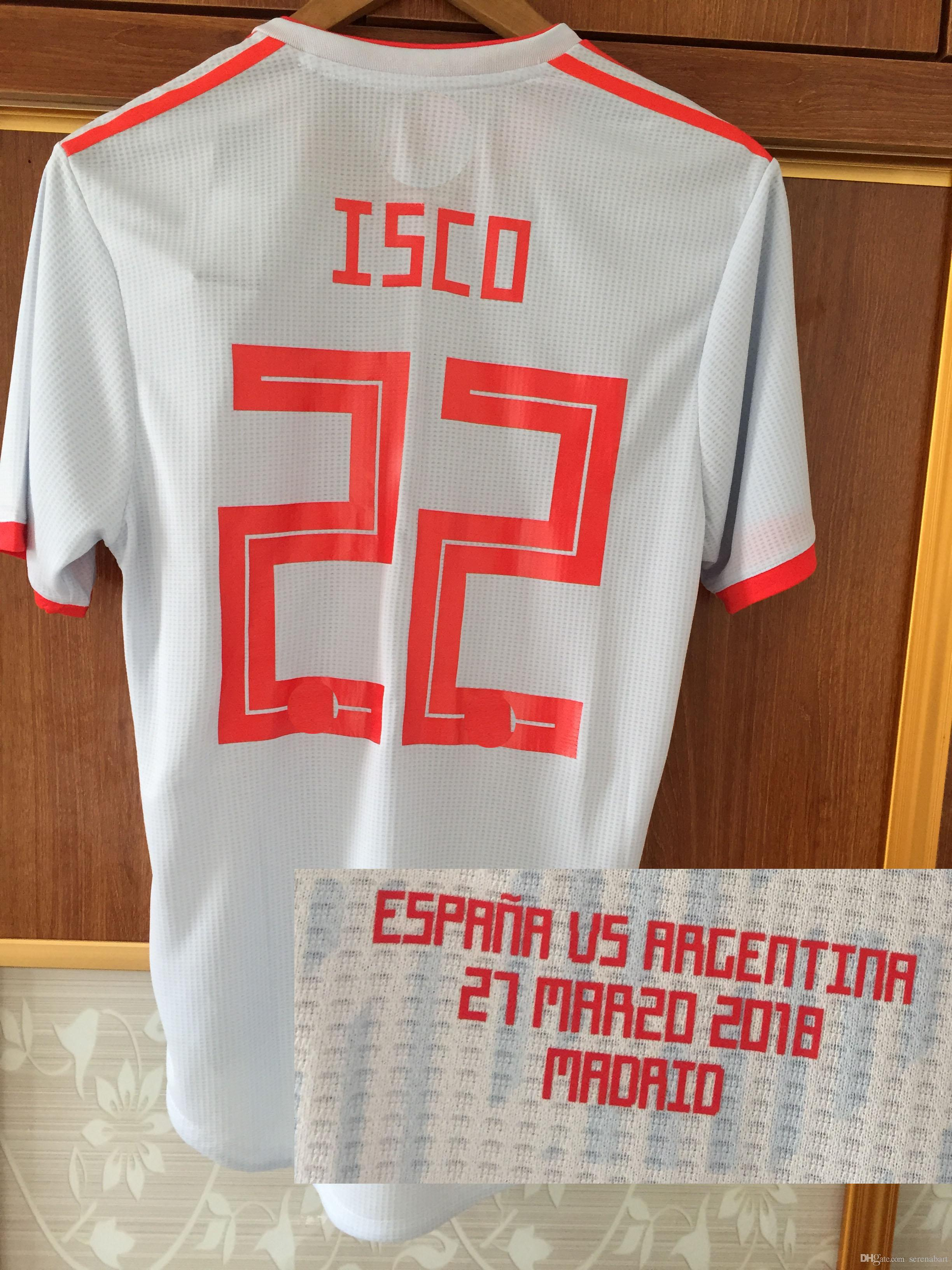 b3cd181221c0 2019 2018 Spain Match Worn Player Issue Jersey Isco A.Iniesta With Match  Details Spain Vs Argentina Customize Any Name Any Number Soccer Shirt From  ...