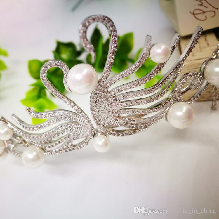 2018 Gorgeous Sparkling Silver Crystal Pearl Wedding Crown Headband High Quality Bridal Tiara Party Show Pageant Hair Accessories Real Photo