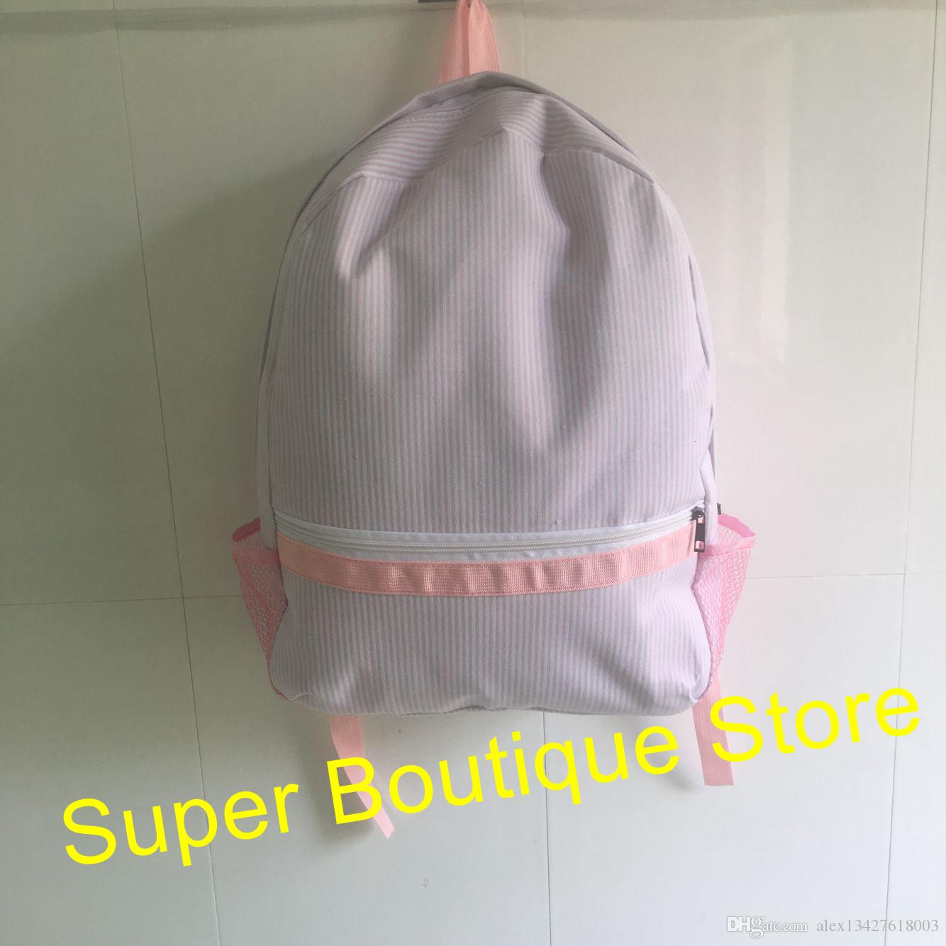 d509f5c20f79 2019 Hot Selling Monogram Seersucker Backpack Student School Bags Good  Quality Personalize Kids Toddler Backpack Bag From Alex13427618003