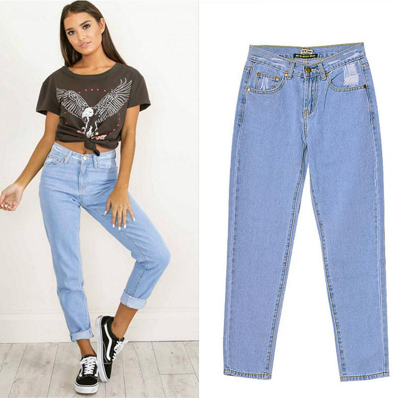 9d7858373bc15 Sexy High Waist Solid Distressed Woman Boyfriend Jeans Plus Size ...