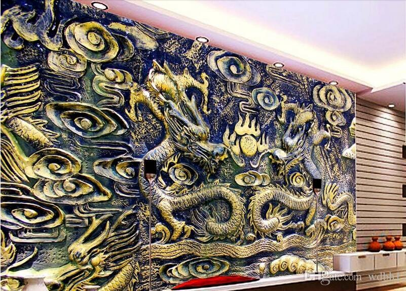 3d wallpaper custom photo Chinese dragon wood carving TV background room Home decor background wall 3d wall murals wallpaper for walls 3 d