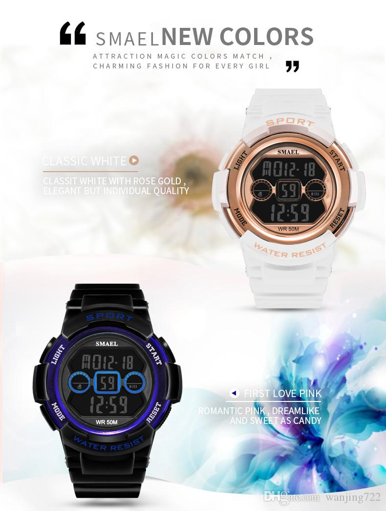 SMAEL Marque Montre De Sport Électronique Femmes Montres Dames Montre-Bracelet Numérique Pour Femme Horloge Multifonction Étudiant poignet montres