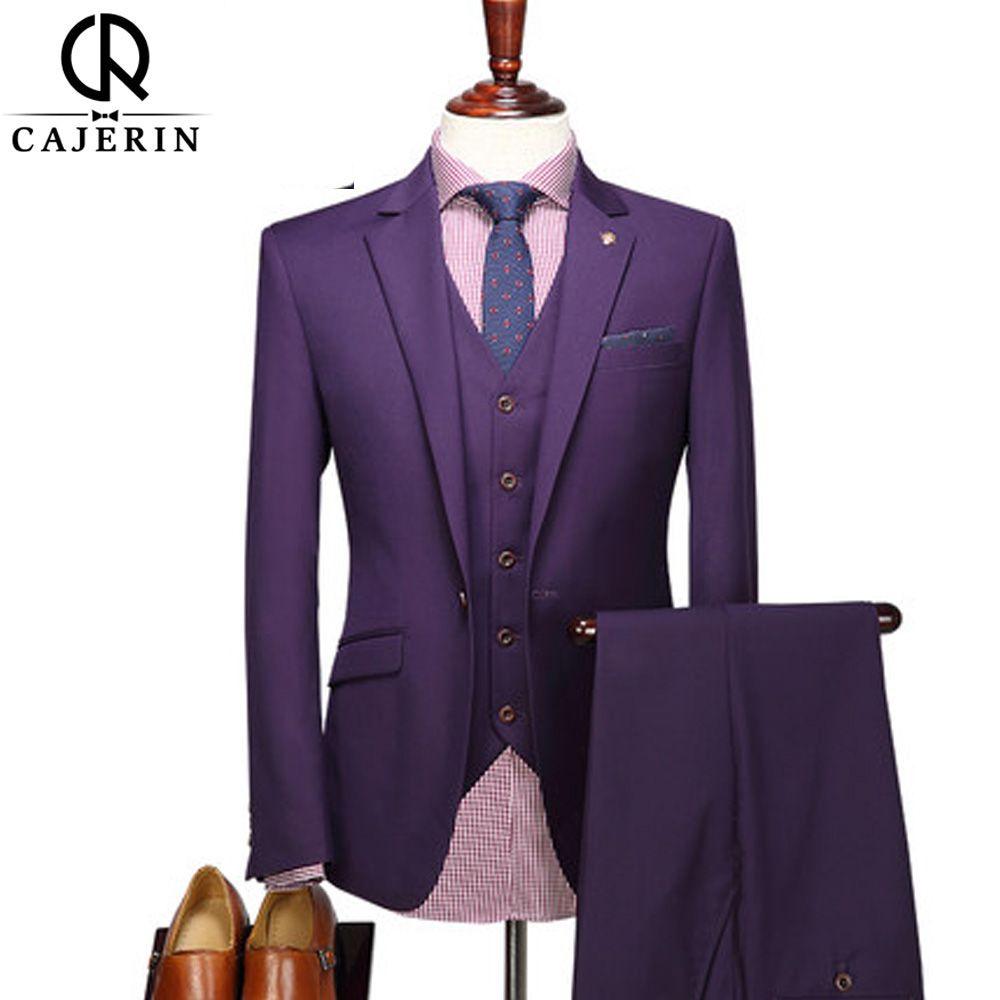 2945cfd393d 2019 Cajerin Men S Clothing Polyester Formal Business England Style Purple  Men Slim Fit Suit SetsJacket+Vest+Pants From Elizabethy