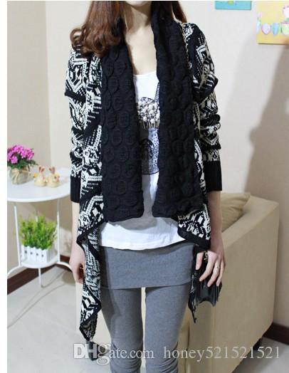 Pull femme col tricoté ethnique nation azote géométrique asymétrique chandail irrégulier cardigan cape manteau