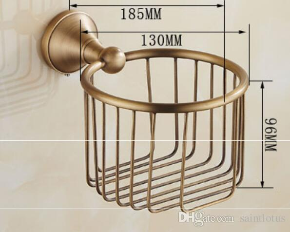 Black copper Paper Holders Wall Mounted Toilet Paper Basket Shelf Toilet Paper Holder Rack Tissue Basket Holder Bathroom Accessories
