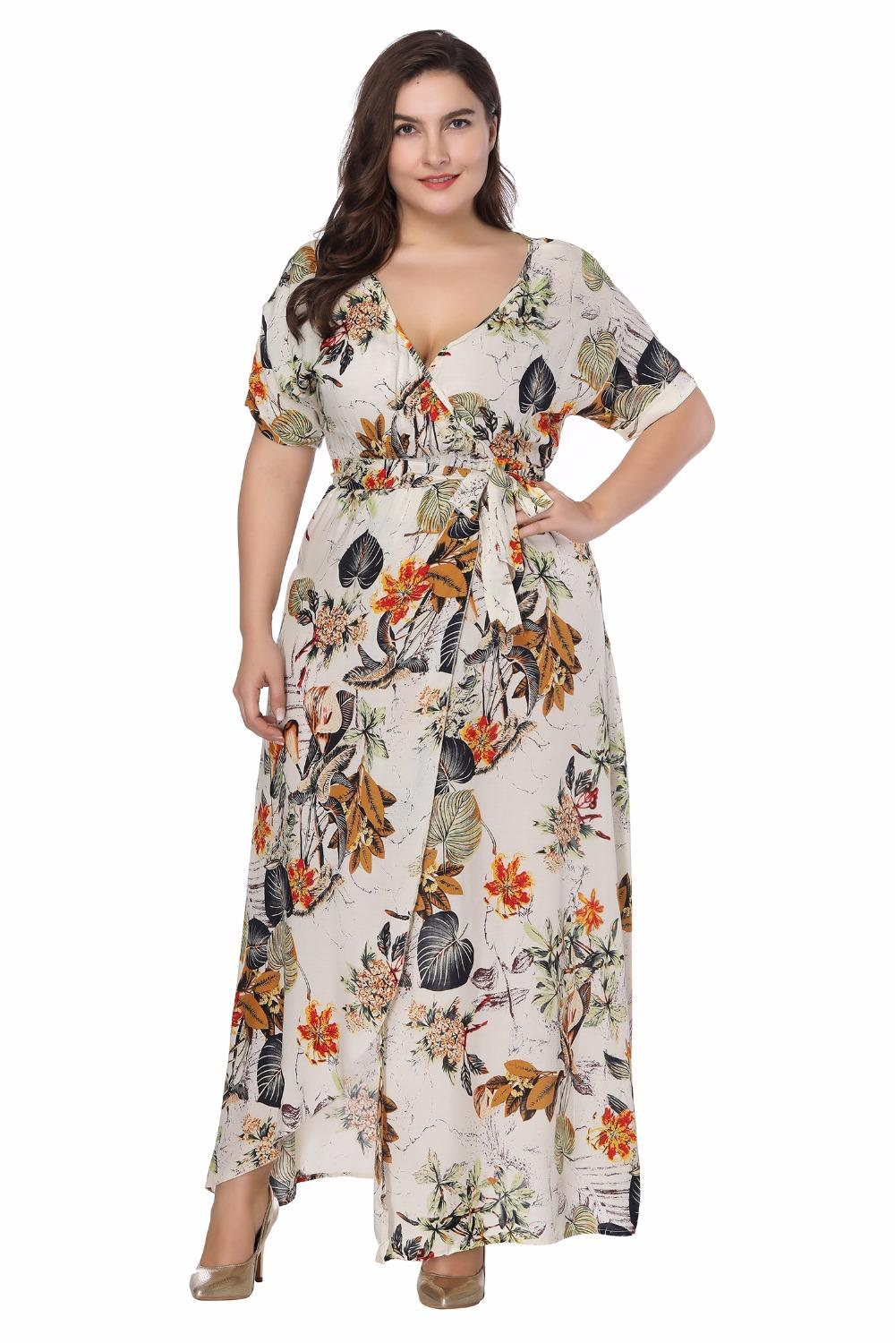 2018 summer Maxi Dress Plus Size Women Clothing Floral Printed Women Dress  Big Size Long Party Female Vestidos