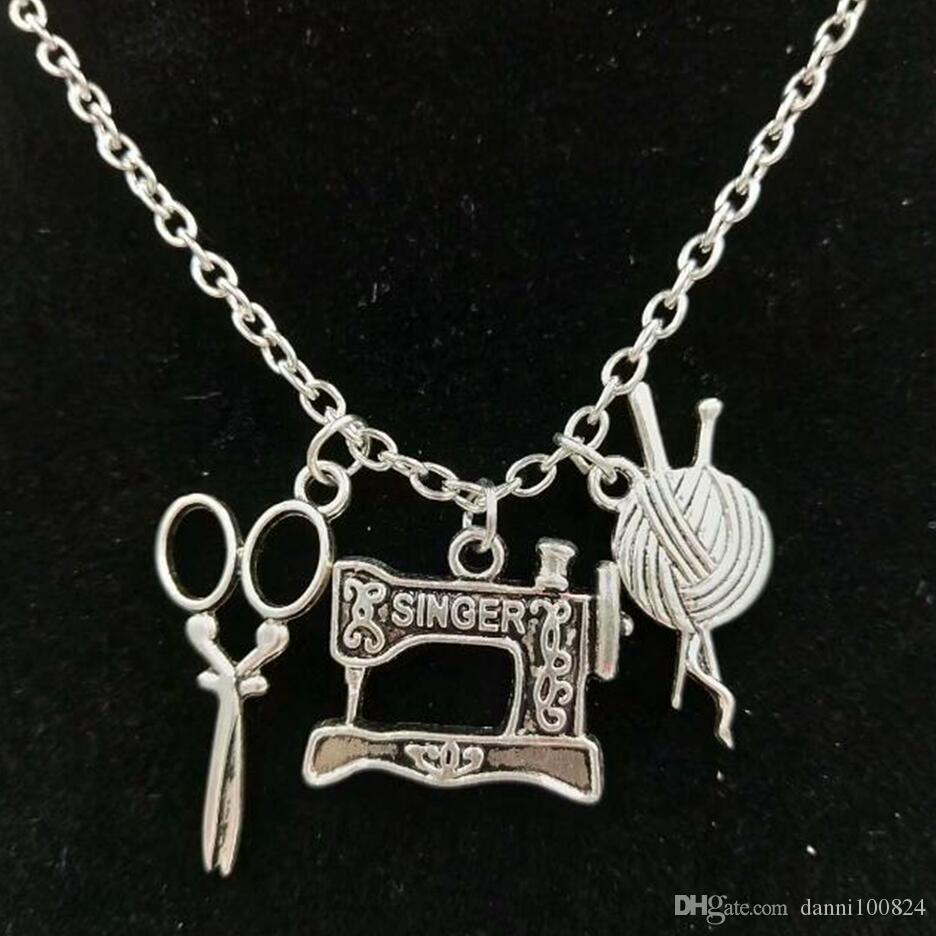 Мода ювелирные изделия 10 шт. / лот старинные серебряные ножницы косметолог / Швейные машины / пряжи кулон ожерелье ножницы ювелирные изделия парикмахер подарок A5