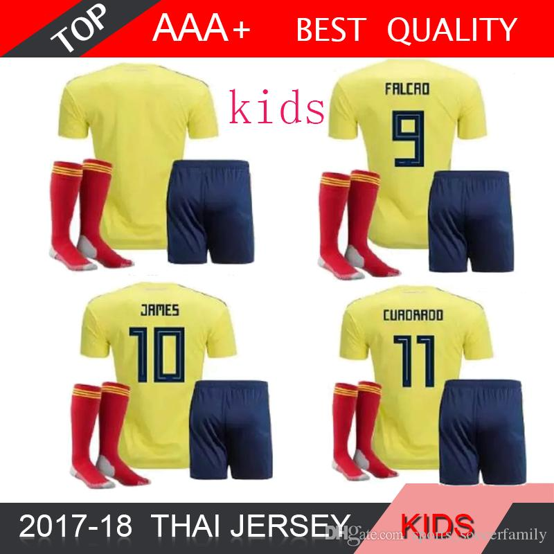 2018 World Cup Colombia KIDS National Home Yellow Soccer Jerseys JAMES  FALCAO CUADRAD AGUILAR GUARIN SANCHEZ 18 19 BOY Football Shirt SOCK Colombia  2018 ... 34f951d54