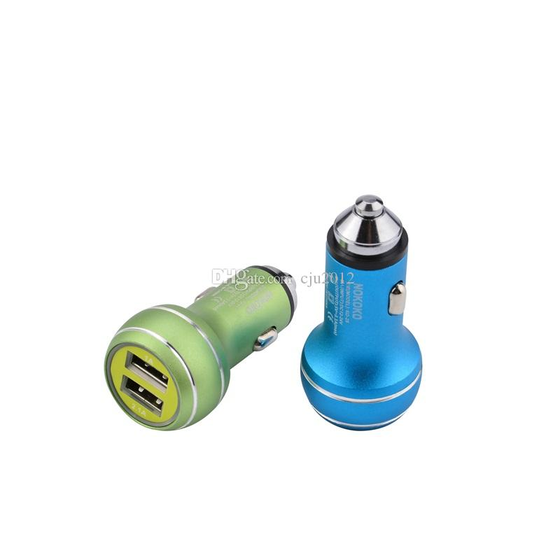 Dual USB Car Charger Metal 2 Port Travel Power Adapter 5V 2.1A+1A Mini Metal Aluminum Alloy Safety Hammer for Iphone7 Samsung HTC