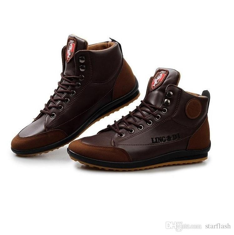 bf70d767b8cbeb Compre Botas De Cuero Para Hombre Moda Otoño Invierno Cálido Botas De  Tobillo De Algodón Con Cordones Zapatos De Hombre Zapatillas De Deporte  Tamaño: 39 44 ...