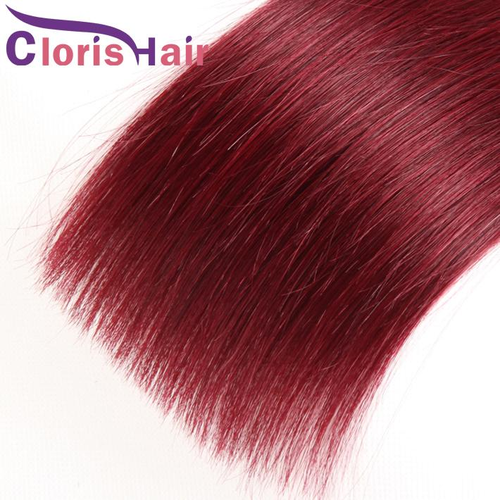 One-directional Cuticle Wine Red Ombre Extensions 1B 99j Peruvian Virgin Straight Human Hair Weaves Dark Root Burgundy Straight Ombre Bundle