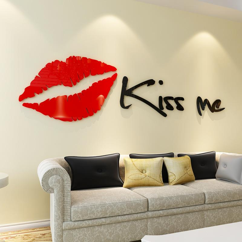 Stickers Adesivi Pareti.3d Wallpaper Kiss Me Creative Wall Decals Stickers Adesivi Da Parete 3dstereoscopic Bedroom Sofa Background Festival Wall Home Decoration