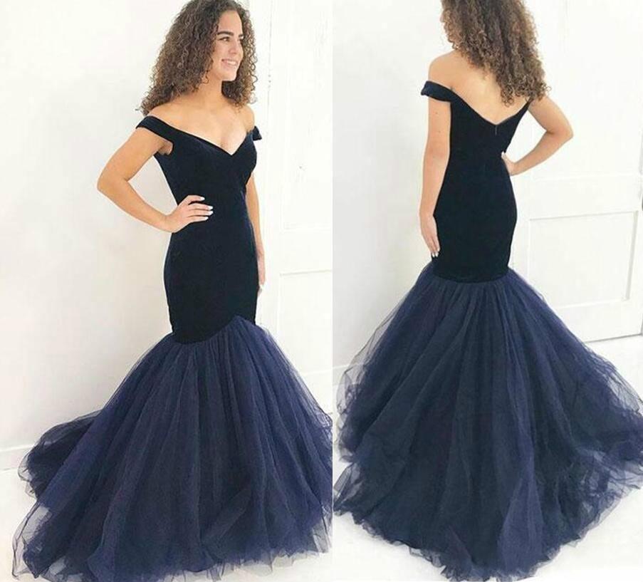 dbb7a2c0b2af7 Hot Seller Navy Blue Velvet Mermaid Prom Dresses Long 2018 Off Shoulder  Party Gowns Cheap Tulle Formal Evening Wear