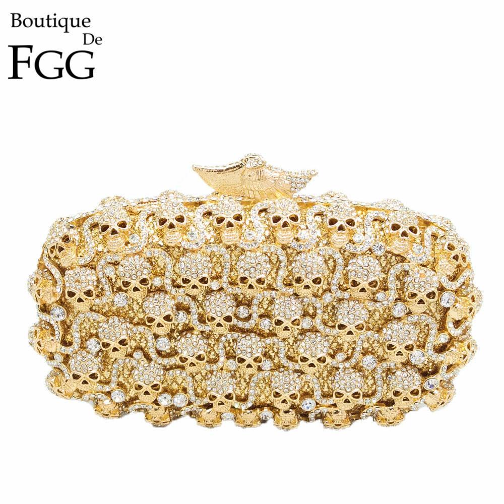 f7f76ccb10 Boutique De FGG Ladies Golden Crystal Skull Evening Clutches Bag Hollow Out  Diamond Wedding Clutch Purse Women Bridal Handbags Y18103004 Clutch Purse  ...