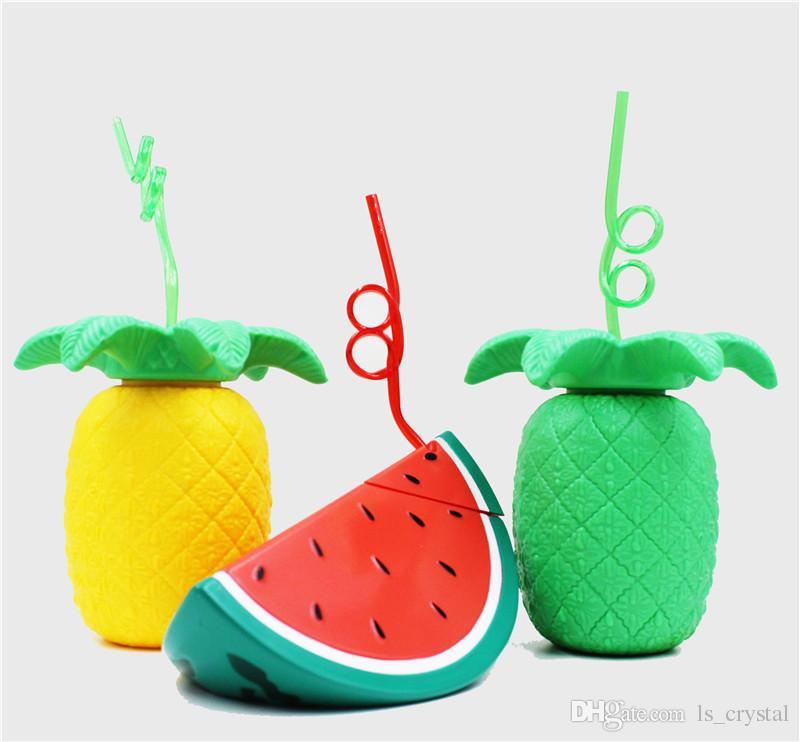 Nouveauté ananas pastèque Beach Tumbler avec Twisty Straw Adulte Sippy Cup Straw Water Bottle Party Favor DEC283