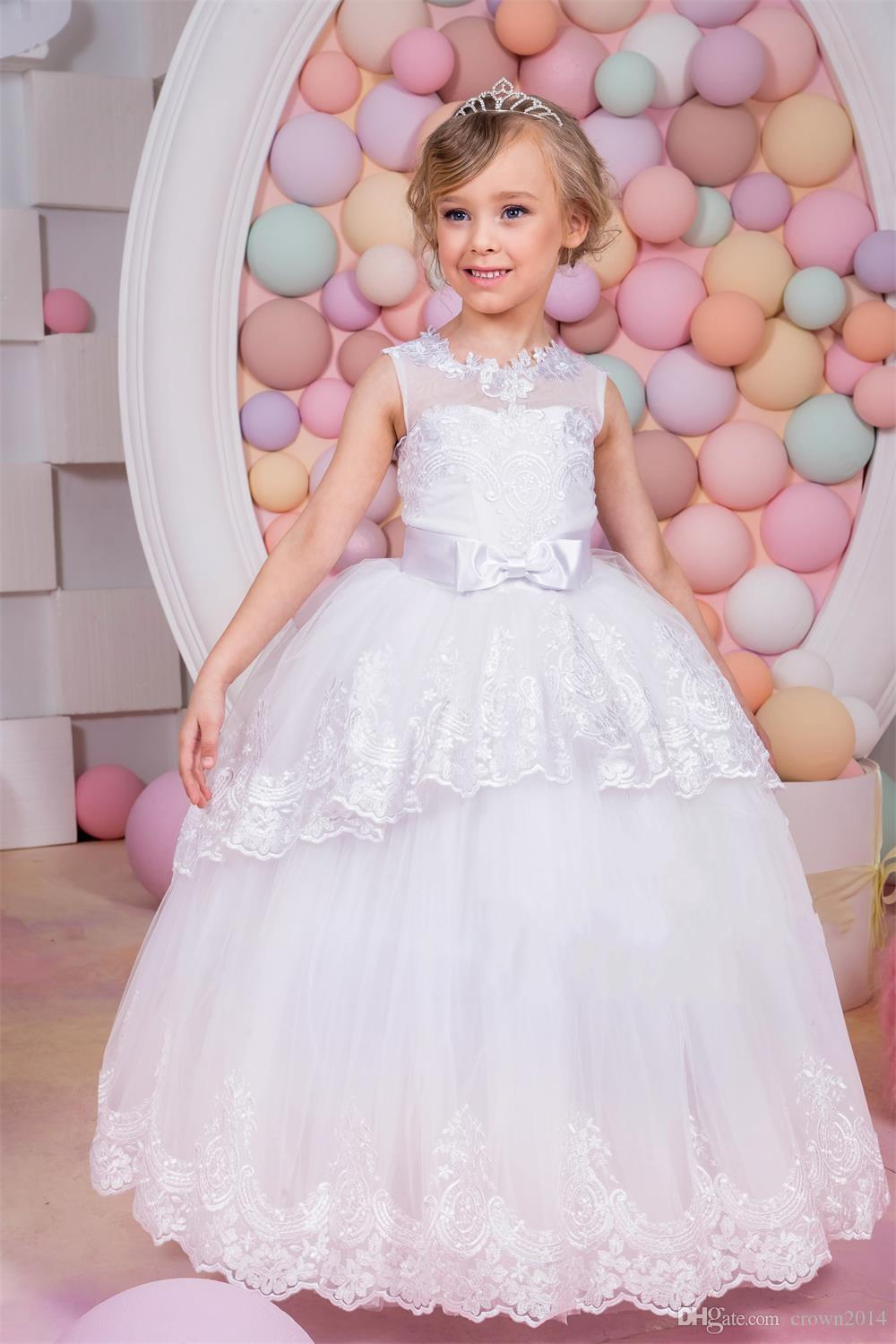 2019 Flower Girls Dresses For Wedding Tulle Lace Applique Two Layered Ball Gown Kids Children Floor Length Party Pageant Gowns With Bow